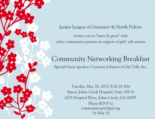 2015 Community Networking Breakfast Invitation